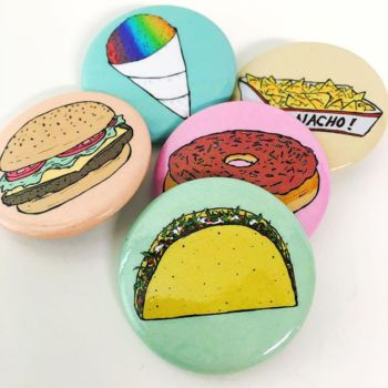 Custom 1.5 Round food buttons